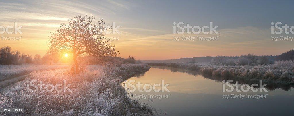 Panoramic view on winter sunrise stock photo