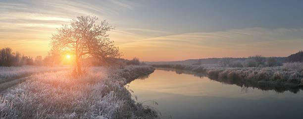 panoramic view on winter sunrise - kalte sonne stock-fotos und bilder