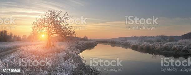 Photo of Panoramic view on winter sunrise