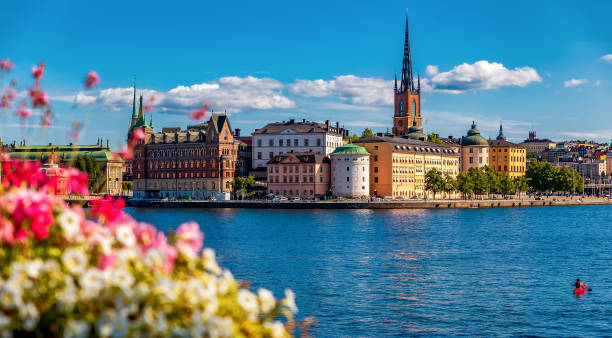 Panoramic view onto Stockholm old town Gamla Stan and Riddarholmen church in Sweden Panoramic view across Lake Malaren onto traditional gothic buildings in the old town, Gamla Stan in and Riddarholmen church, the burial church of Swedish monarchs in Stockholm, Sweden stockholm stock pictures, royalty-free photos & images