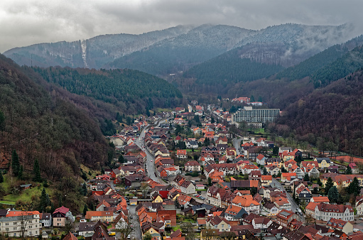 Panoramic view onto the city Bad Lauterberg in Harz national park, Germany