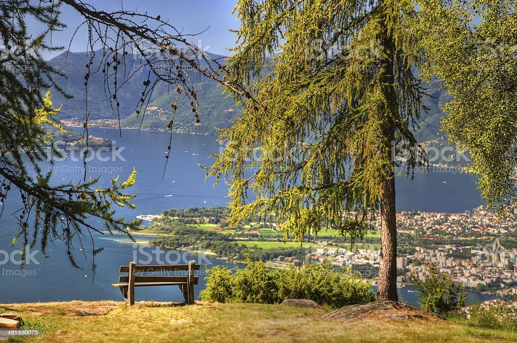 Panoramic view over an alpine lake stock photo
