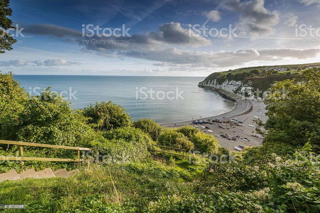 Panoramic view over Beer village in Devon,UK stock photo