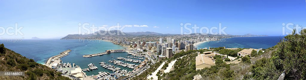 Panoramic view over Calp (Spain) stock photo