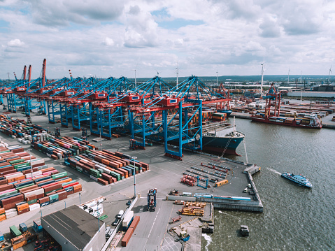 panoramic view over Cargo crane container terminal in Hamburg