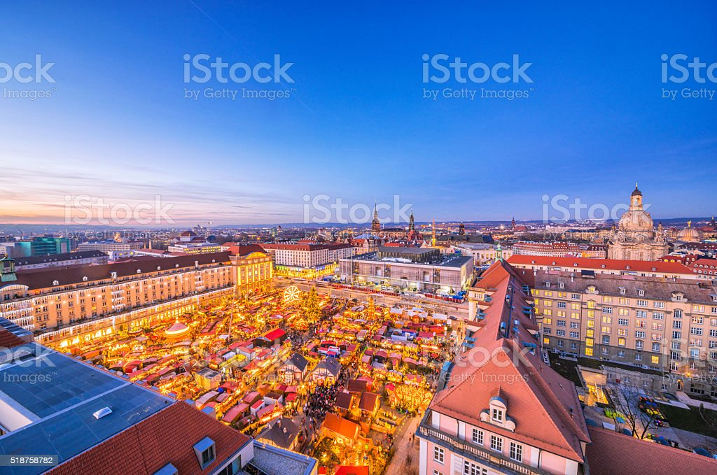Panoramic view over Dresden and the Striezelmarkt at dusk stock photo