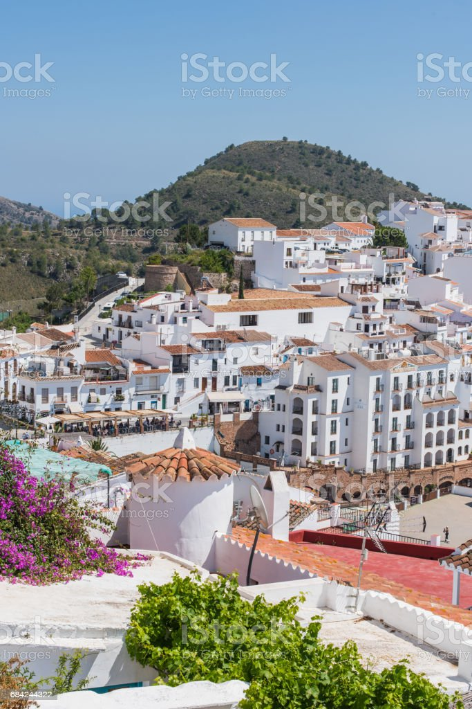 Panoramic view over Frigiliana famous white village near Nerja,Spain royalty-free stock photo