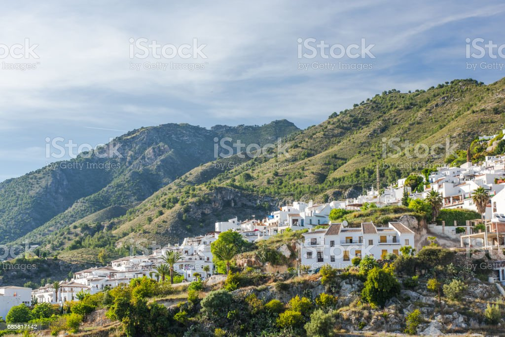 Panoramic view over Frigiliana white village stock photo