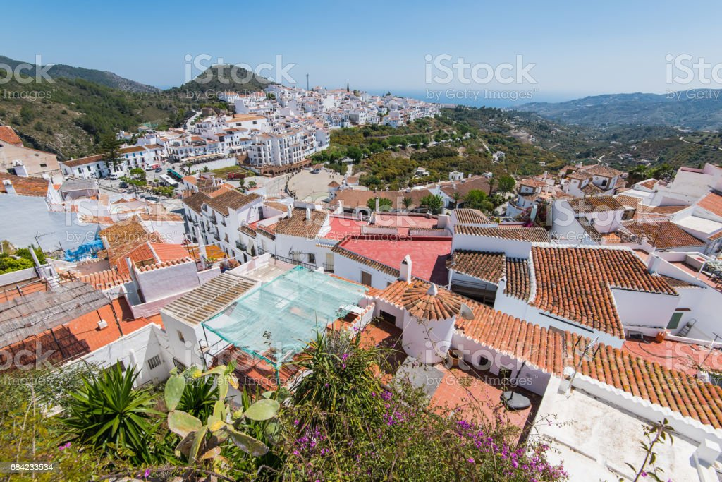 Panoramic view over Frigiliana white village,Spain royalty-free stock photo