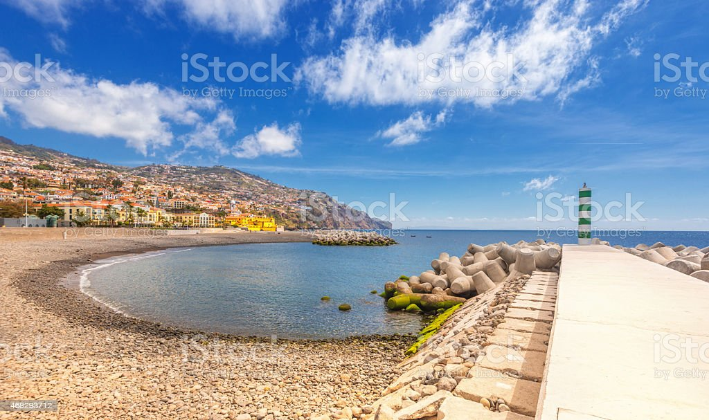 Panoramic view over Funchal beach and downtown stock photo