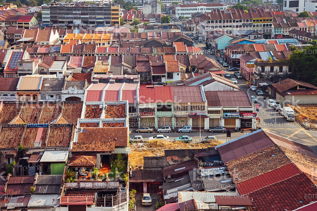 Panoramic view over Georgetown, Penang, Malaysia royalty-free stock photo