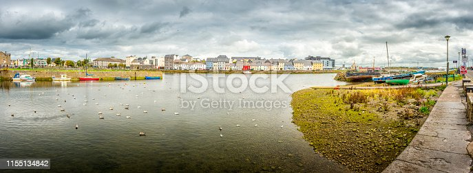 panoramic view over harbor in Galway, Ireland