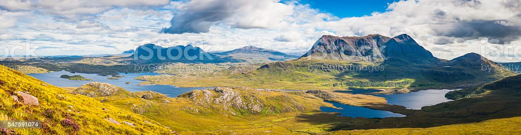 Panoramic view over Highlands mountain peaks wilderness lochs glens Scotland stock photo