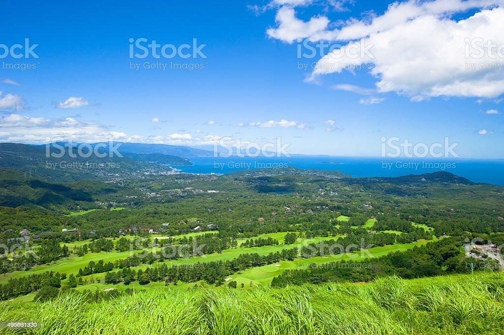 Panoramic view over Ito City, Japan stock photo