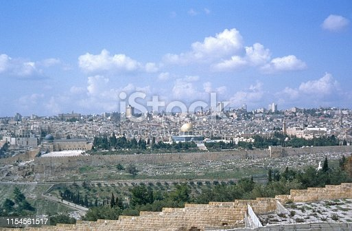 Jerusalem, Israel, 1975. Panorama view over Jerusalem.