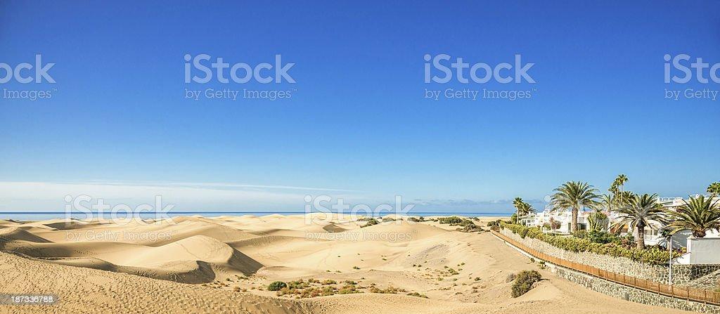 Panoramic view over Maspalomas Dunes - Gran Canaria royalty-free stock photo
