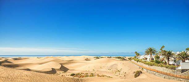 Panoramic view over Maspalomas Dunes - Gran Canaria stock photo
