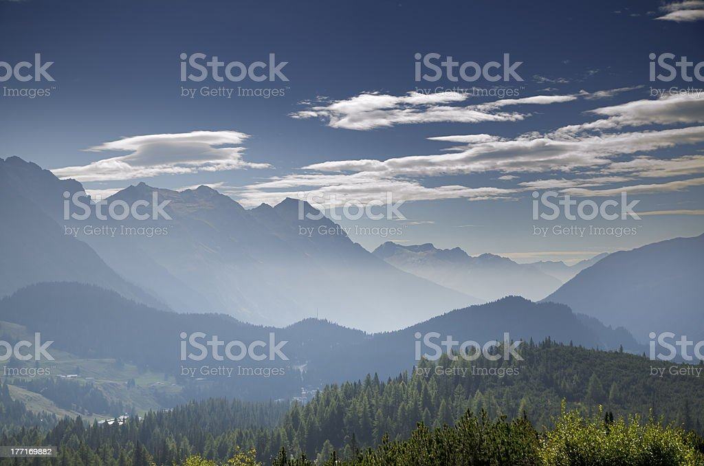 Panoramic view over mountain stock photo
