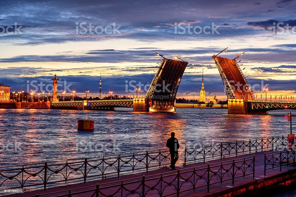 Panoramic view over Neva river in white night, St Petersburg stock photo