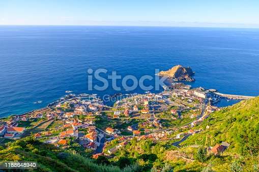 Panoramic view over Porto Moniz village on the Northern coastline of Madeira island, Portugal during a summer afternoon.