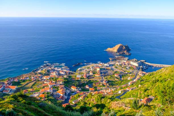 Panoramic view over Porto Moniz village on the Northern coastline of Madeira island