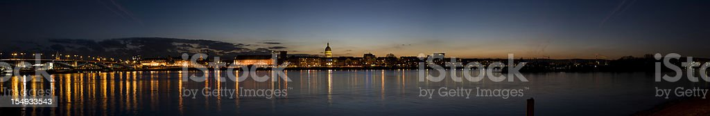 Panoramic view over river rhine at dusk, Mainz Germany stock photo