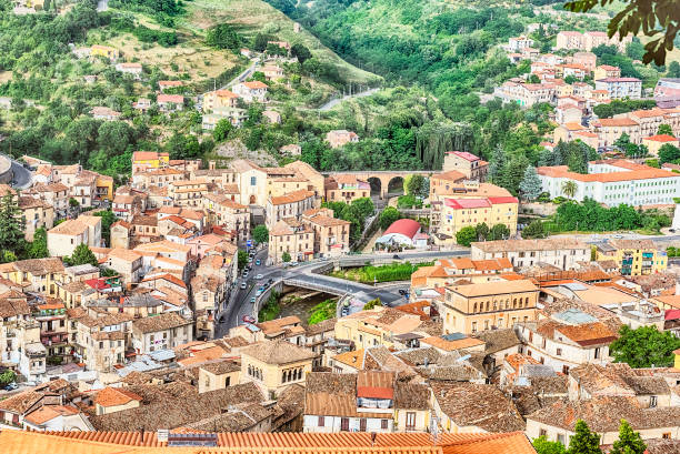Panoramic view over the city of Cosenza and the Crathis River, Italy - foto stock
