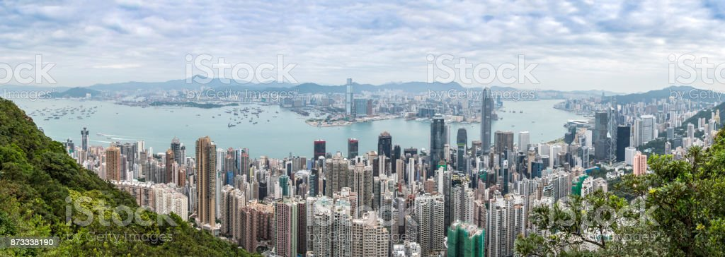 Panoramic view over the city of Hong Kong stock photo