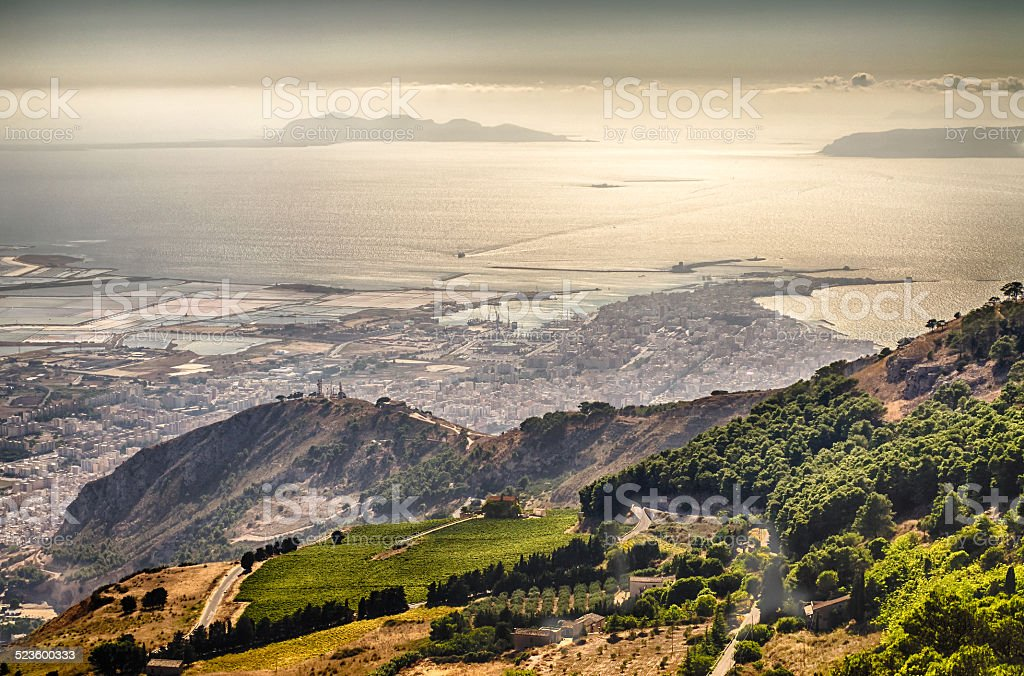 Panoramic View over the city of Trapani and Aegadian Islands stock photo