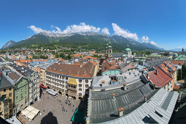 Panoramic view over the Innsbruck, Austria stock photo