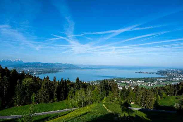 panoramic view over the lake constance to lindau in Germany panoramic view of the lake constance Bodensee stock pictures, royalty-free photos & images