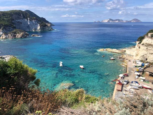 Panoramic view over the Mediterranean Sea from the island of Ponza in Italy stock photo