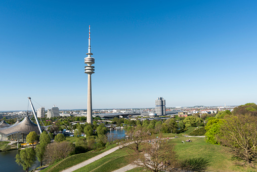 Panoramic view over the Oolymic Park in Munich