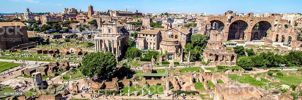 Panoramic view over the Roman Forum, Rome, Italy stock photo
