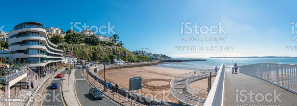 Panoramic view over the seafront in Torquay stock photo