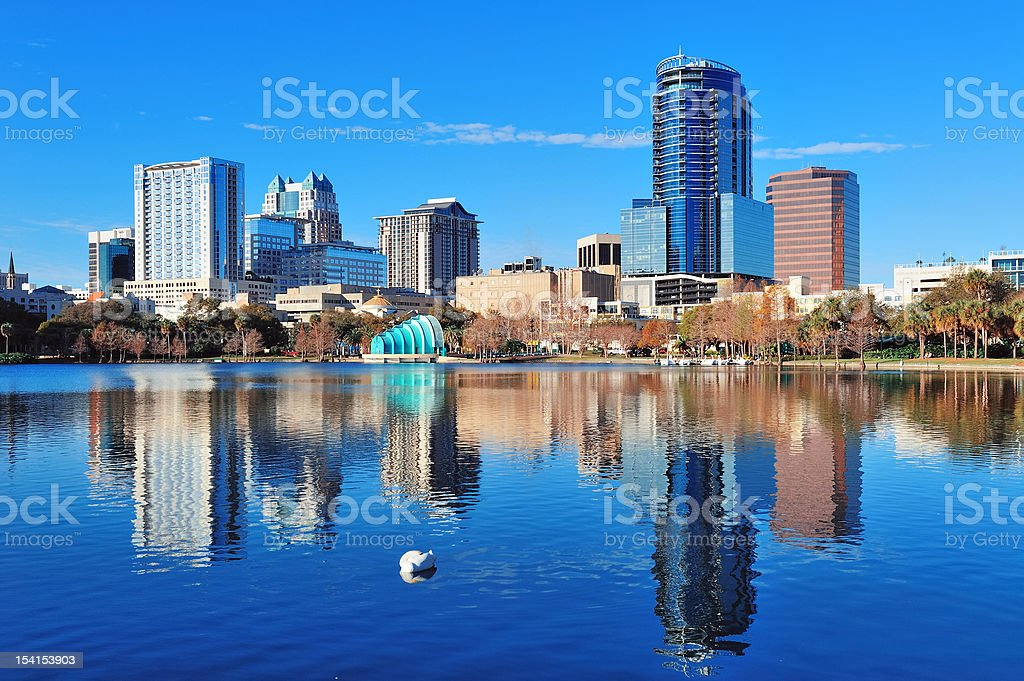 A panoramic view over the water with the Orlando skyline  stock photo