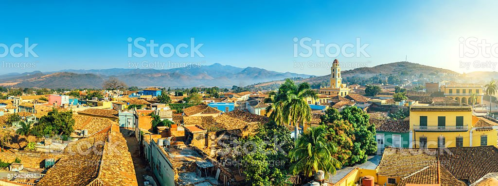 Panoramic view over Trinidad, Cuba stock photo