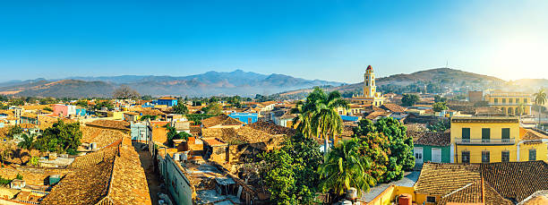 panoramic view over trinidad, cuba - cuba stock photos and pictures