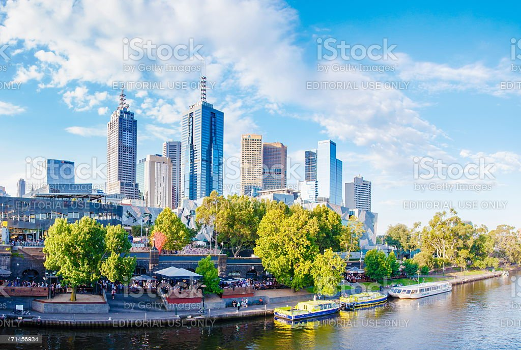 Panoramic view over Yarra River and City Skyscrapers, Melbourne, Australia stock photo