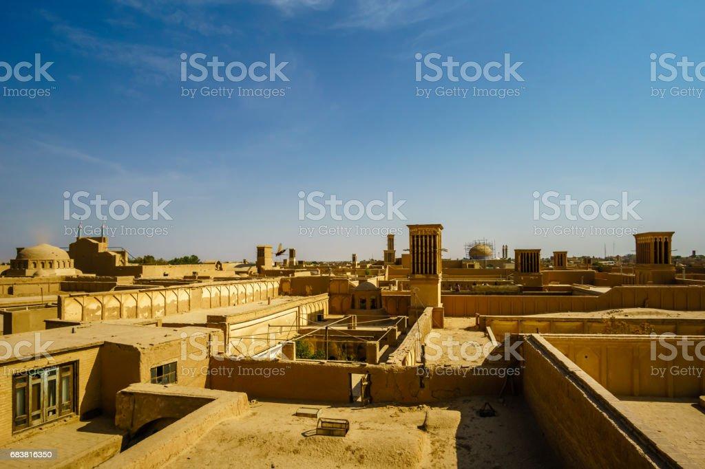 Panoramic view over Yazd in Iran stock photo