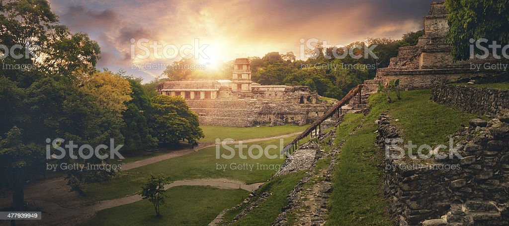 Panoramic view pyramid of Inscriptions and the Palace observatory. Mexico stock photo