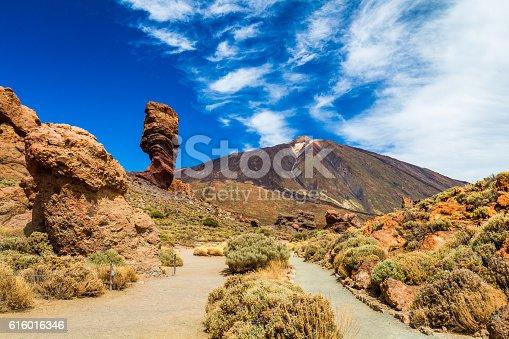 istock Panoramic view Roque Cinchado rock formation with Pico del Teide 616016346