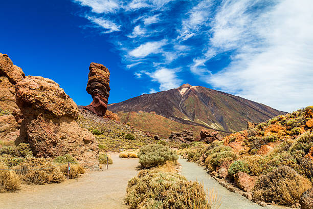 panoramic view roque cinchado rock formation with pico del teide - teneriffa urlaub stock-fotos und bilder