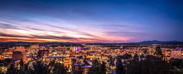 Panoramic View Spokane Washington Downtown City Skyline stock photo