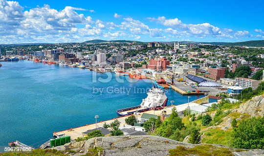 St John's Harbour in Newfoundland Canada.   Panoramic view, Warm summer day in August.