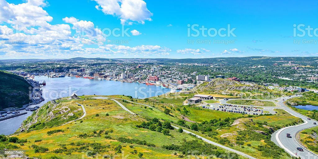 Panoramic view, St John's Harbour in Newfoundland Canada. stock photo