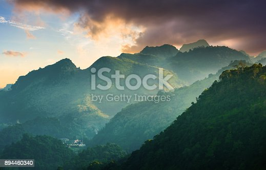 istock Panoramic view Sunrise and mist on mountain view at the north of thailand 894460340