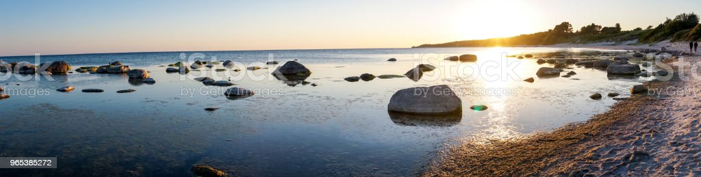 Panoramic view, sunset in Bornholm, Denmark on a day in summer royalty-free stock photo