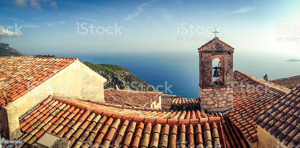 Panoramic view taken in French Riviera town Eze stock photo
