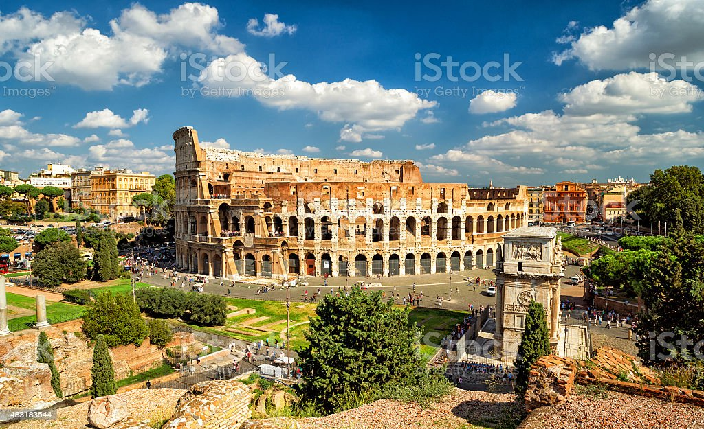 Panoramic view the Colosseum (Coliseum) in Rome stock photo